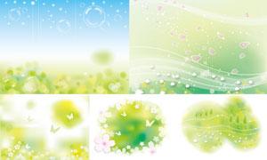花草泡泡与蝴蝶等春天主题矢量素材