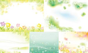 花草植物与泡泡线条等创意矢量素材