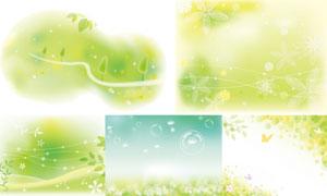 绿叶蝴蝶与蒲公英春天主题矢量素材