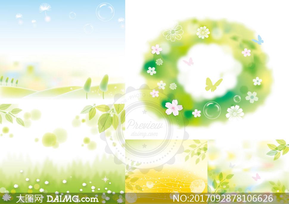 树叶花朵与线条等春天主题矢量素材图片