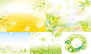 树叶花朵与线条等春天主题矢量素材