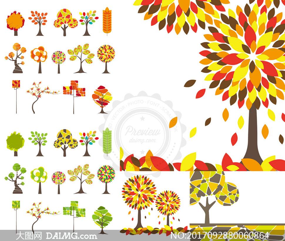 春秋时节树叶主题创意设计矢量素材