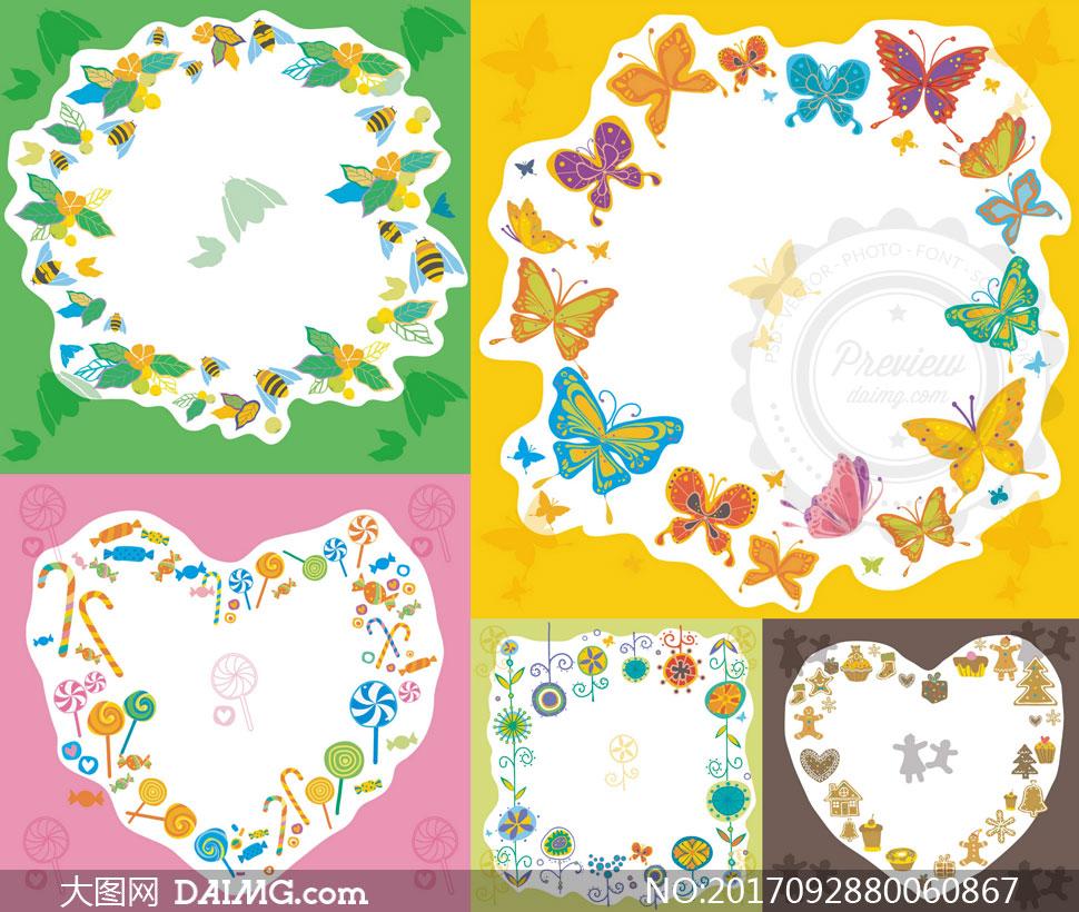 矢量图设计素材创意设计边框蜜蜂花朵花卉植物棒棒糖蝴蝶圣诞树姜饼人