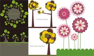 小鸟与树木花朵等创意设计矢量素材