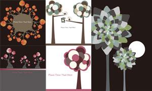 树木花朵与小鸟等插画创意矢量素材