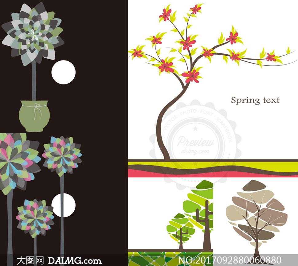 树枝藤蔓与树木等创意设计矢量素材