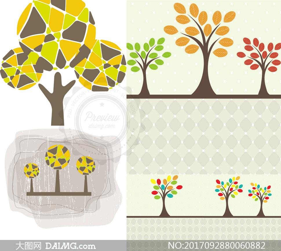 长出多种颜色叶子的树创意矢量素材
