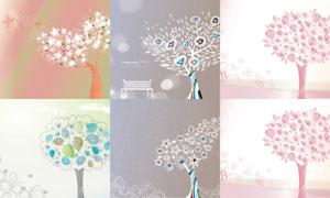 以树木为元素插画创意矢量素材V05