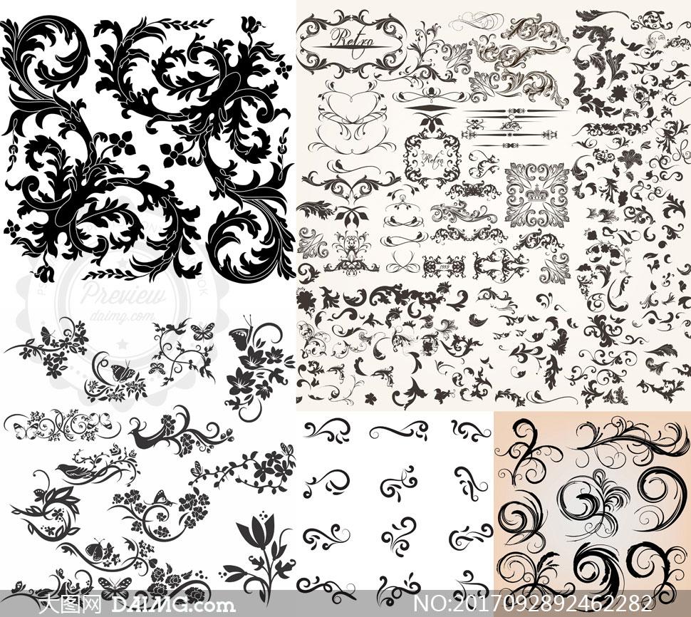 多款黑白效果花草花纹装饰矢量素材