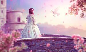 梦幻城堡下的公主唯美场景PS教程素材