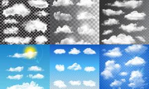多款逼真效果云朵元素矢量素材V07