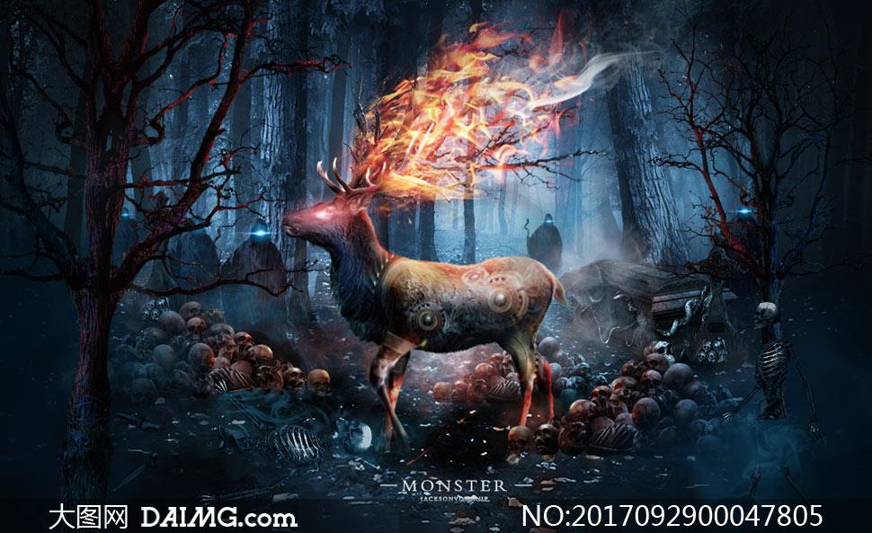 黑暗风格的森林梅花鹿场景ps教程素材