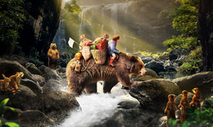 森林中驮着孩子过河的大熊PS教程素材