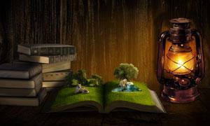 创意的立体魔法书场景PS教程素材