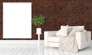 沙发植物与仿砖效果的墙壁高清图片