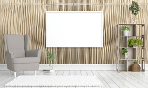 沙发植物与空白的画框创意高清图片