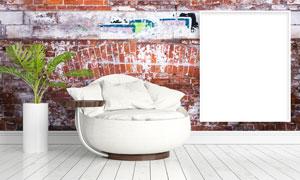画框植物与斑驳的墙面创意高清图片