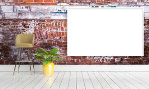 绿叶植物与空白装饰画创意高清图片
