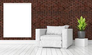 空白画框与沙发植物等创意高清图片