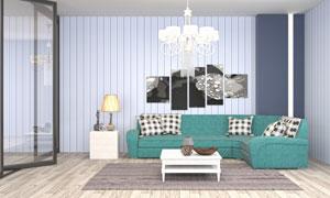 房间沙发吊灯与茶几等家具高清图片