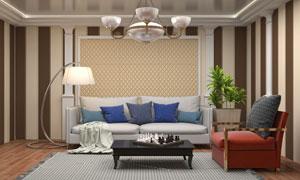 客厅落地灯沙发与茶几创意高清图片