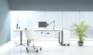 房间内的办公桌椅陈设效果高清图片