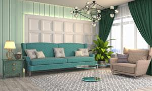 客厅家具陈设渲染效果设计高清图片