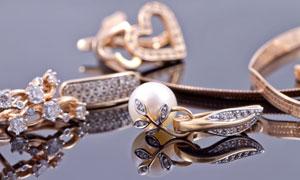 多种珠宝首饰物品特写摄影高清图片