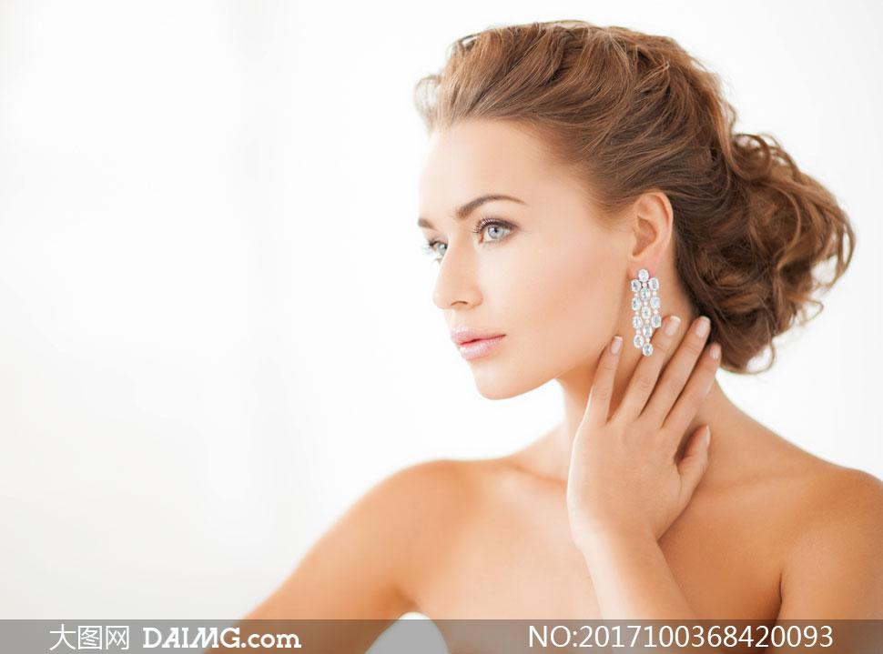 钻石耳饰美女人物模特摄影高清图片 - 大图网设计素材