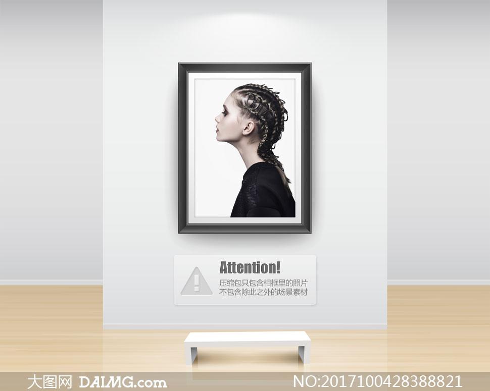 创意发型美女人物侧面摄影高清图片