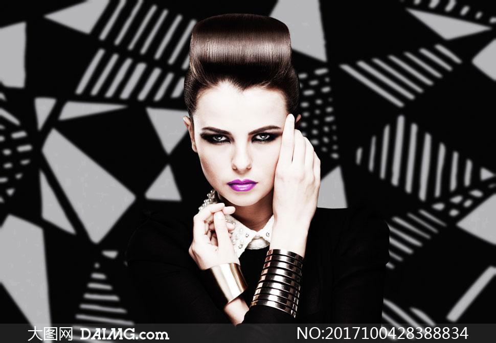时尚发型妆容美女人物摄影高清图片