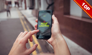 在手里的iPhone7应用效果贴图模板