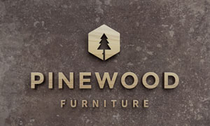 表面木纹效果立体质感标志贴图模板