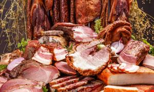 多种多样的肉制品特写摄影高清图片