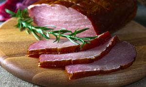 切开的纯瘦肉腊味特写摄影高清图片