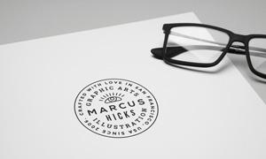 纸上黑白标志图案透视效果贴图模板