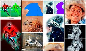 人像照片转抽象水彩画效果PS动作