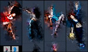 人像照片转油漆涂抹艺术效果PS动作