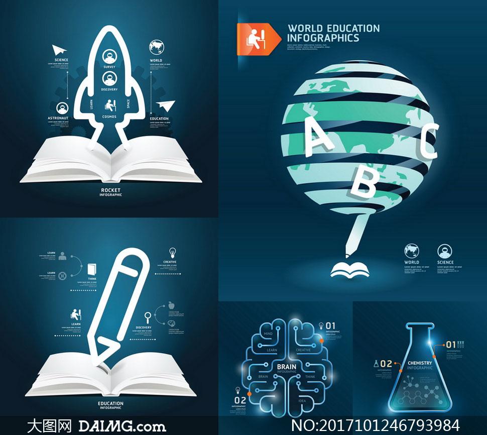 火箭等元素教育信息图创意矢量素材 - 大图网设计素材