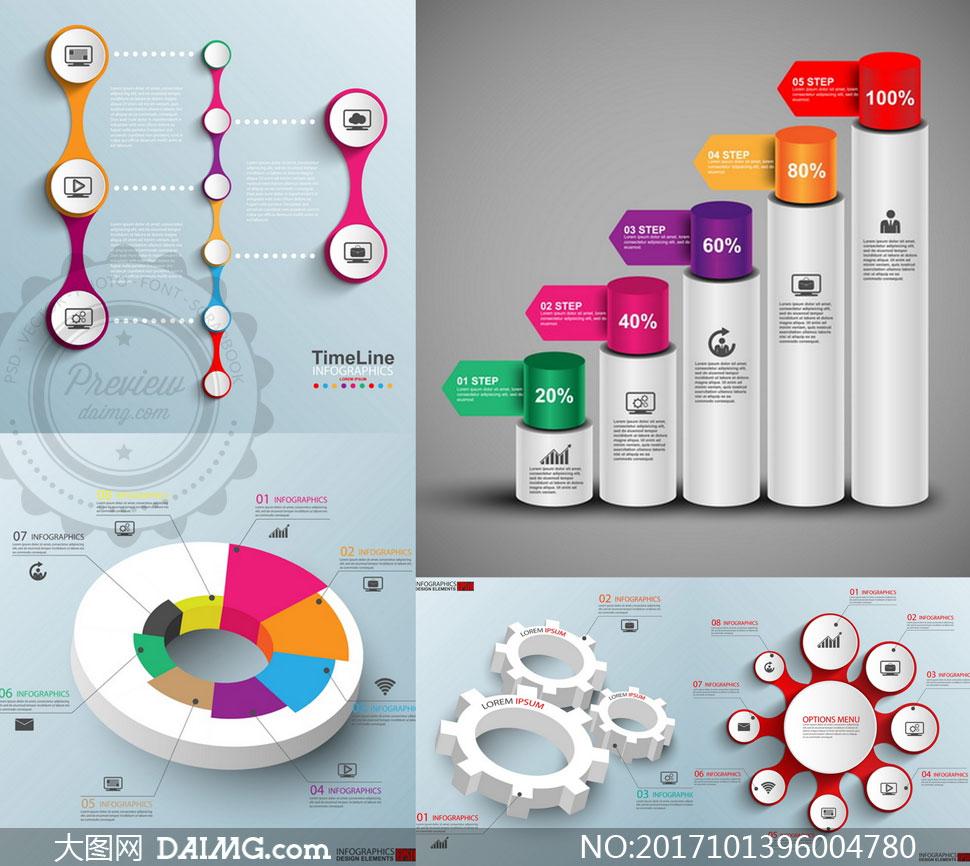 圆柱体等元素信息图表创意矢量素材