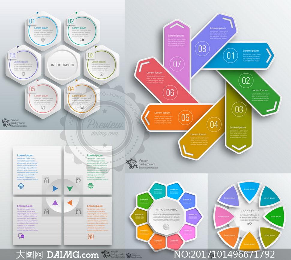 缤纷多边形元素信息图创意矢量素材