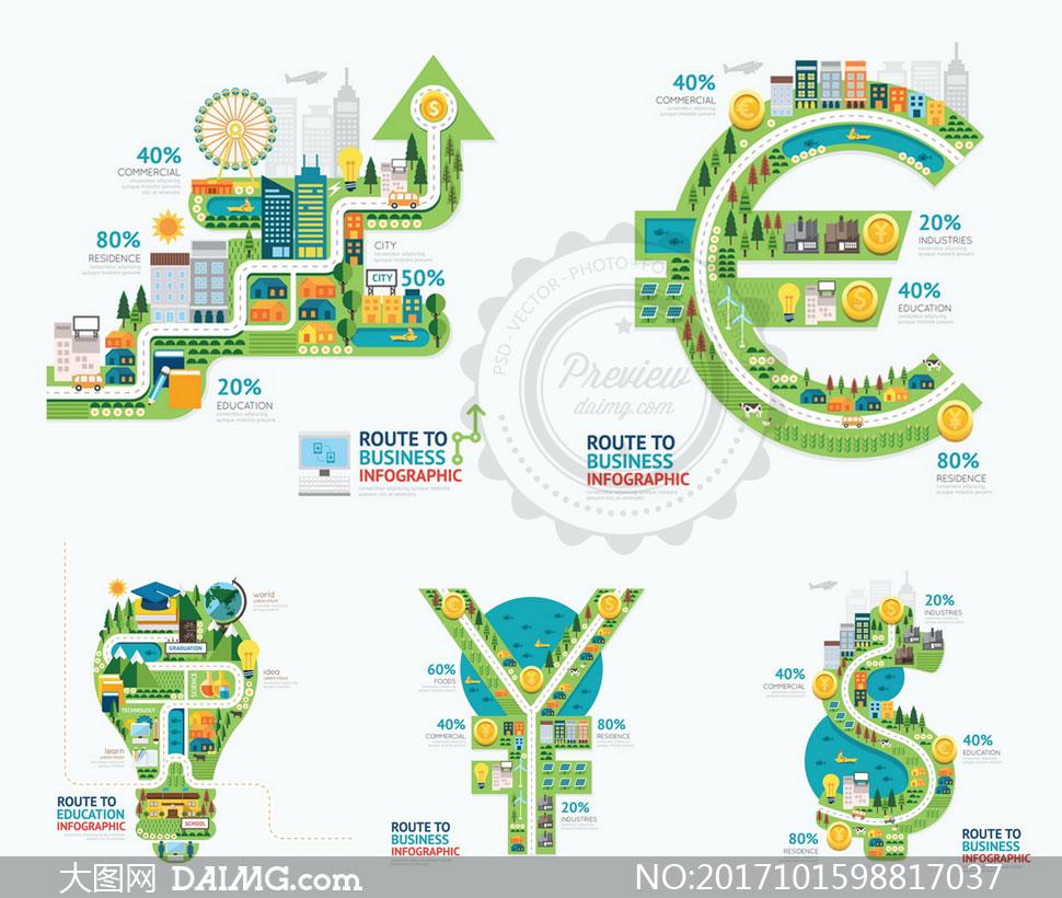 货币符号等图形创意信息图矢量素材 - 大图网设计素材图片