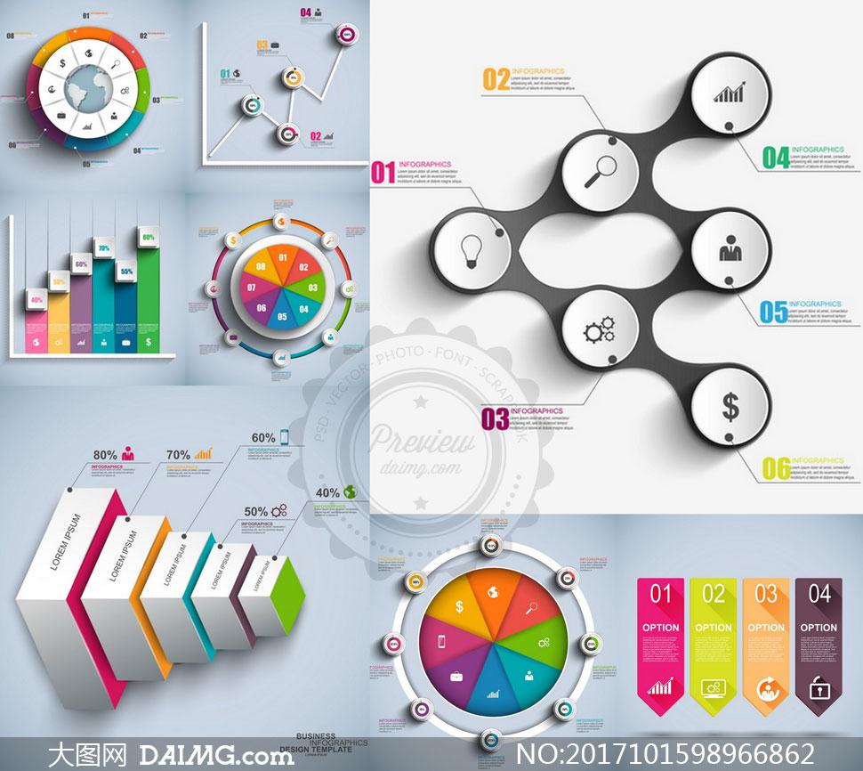 多彩饼状图等实用信息图表矢量素材