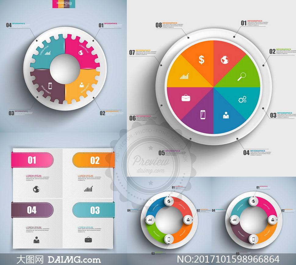 饼状图圆环等信息图表创意矢量素材
