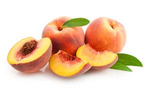 可见到果肉的新鲜桃子摄影高清图片