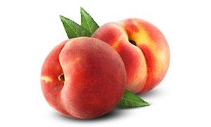 个头饱满圆润的俩桃子摄影高清图片