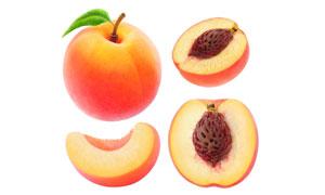 已切开的新鲜桃子特写摄影高清图片