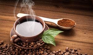 咖啡豆咖啡粉与热咖啡摄影高清图片