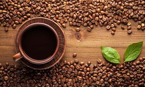 两片叶子与很多咖啡豆摄影高清图片