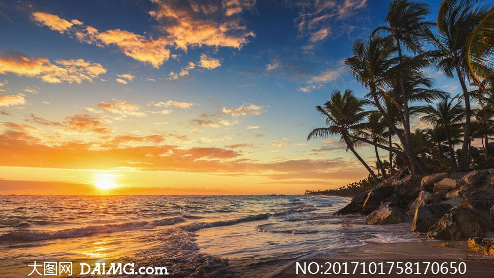 蓝天云彩潮起潮落风景摄影高清图片
